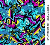 psychedelic graffiti lines and... | Shutterstock .eps vector #366283061