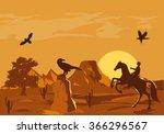 vector illustration of prairie... | Shutterstock .eps vector #366296567