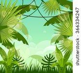 forest landscape. jungle. sky. | Shutterstock .eps vector #366334247
