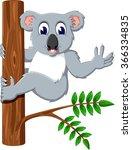 cute koala holding tree | Shutterstock .eps vector #366334835