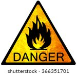 old yellow danger sign   fire | Shutterstock . vector #366351701