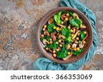 spinach  chickpea and mushroom  ... | Shutterstock . vector #366353069