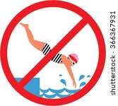 no diving sign. swimming pool... | Shutterstock .eps vector #366367931