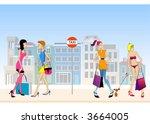 vector girls at taxi rank | Shutterstock .eps vector #3664005