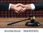 gavel on wooden table with... | Shutterstock . vector #366403301