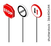 isometric icons various road... | Shutterstock .eps vector #366404144