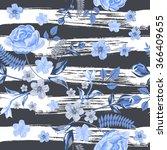 vector seamless roses floral...   Shutterstock .eps vector #366409655