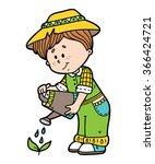 cute gardener. vector... | Shutterstock .eps vector #366424721