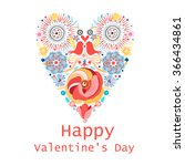 floral heart of flowers.... | Shutterstock .eps vector #366434861
