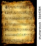 Antique Music Sheet Background - stock photo