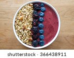smoothie bowl topped with... | Shutterstock . vector #366438911