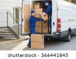 young delivery men unloading... | Shutterstock . vector #366441845