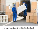 young male movers unloading... | Shutterstock . vector #366444461