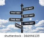 crossroad signpost saying this... | Shutterstock . vector #366446135