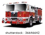 Big Red Fire Truck Isolated O...