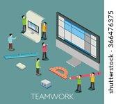 flat 3d teamwork of micro... | Shutterstock .eps vector #366476375