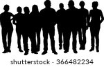 Vector crowd silhouette of a large group of adult people, team or friends