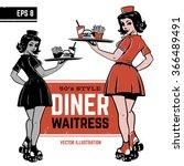 waitress on roller skates.... | Shutterstock .eps vector #366489491