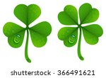 clover leaves with drops of dew.... | Shutterstock .eps vector #366491621