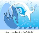 three fish are gracefully... | Shutterstock .eps vector #3664947
