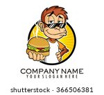 cool monkey burger mascot... | Shutterstock .eps vector #366506381