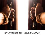 hand opens empty room door | Shutterstock . vector #366506924