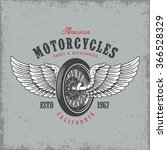 t shirt print with motorcycle... | Shutterstock .eps vector #366528329