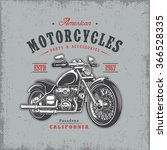 t shirt print with motorcycle... | Shutterstock .eps vector #366528335