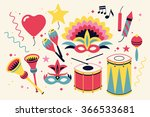 cool masquerade and carnival... | Shutterstock .eps vector #366533681