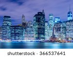 Night Panorama Of Manhattan In...