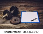old iron dumbbells or exercise... | Shutterstock . vector #366561347