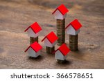 house models on stacked coins...   Shutterstock . vector #366578651