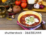 healthy food  soup with beets ... | Shutterstock . vector #366581444