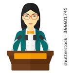woman speaking on podium. | Shutterstock .eps vector #366601745