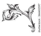 vintage baroque frame scroll... | Shutterstock .eps vector #366602597