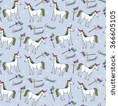 seamless pattern with unicorns... | Shutterstock .eps vector #366605105