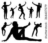 selfie silhouettes   Shutterstock .eps vector #366607079