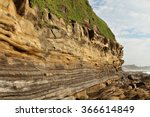 strata of sedimentary rock on a ... | Shutterstock . vector #366614849