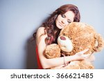 Happy Woman Received A Teddy...