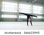 little gymnast standing on hand ... | Shutterstock . vector #366623945