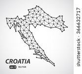 low poly map of croatia | Shutterstock .eps vector #366632717