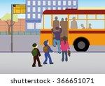 schoolchildren walk into bus... | Shutterstock .eps vector #366651071