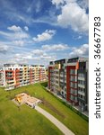 newly built block of flats with ... | Shutterstock . vector #36667783