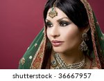 beautiful indian woman wearing... | Shutterstock . vector #36667957