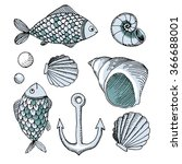 vector hand drawn set  fish ... | Shutterstock .eps vector #366688001