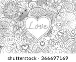 heart on flowers for coloring... | Shutterstock .eps vector #366697169