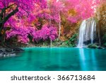 Waterfall In Autumn Forest At...