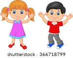 little kid waving hand isolated ... | Shutterstock .eps vector #366718799