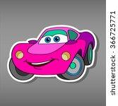 cartoon pink car sticker for... | Shutterstock .eps vector #366725771