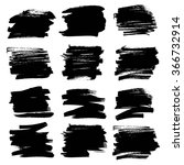 set of big ink textured strokes ... | Shutterstock .eps vector #366732914